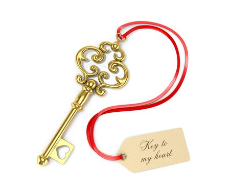 door lock love: Golden key with tags. Key to the heart. 3D illustration