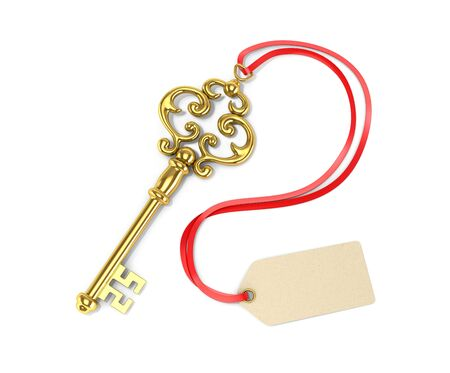 door lock love: Gold key with tags. 3D illustration Stock Photo