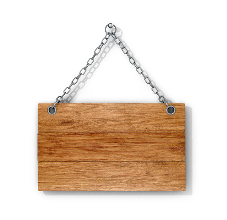 Wooden sign on the chains. 3D illustration.