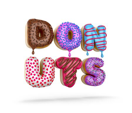 Colorful donuts. The letters in the form of donuts. 3D illustration Stock Photo