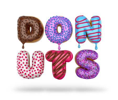 Colorful donuts. The letters in the form of donuts. 3D illustration Imagens