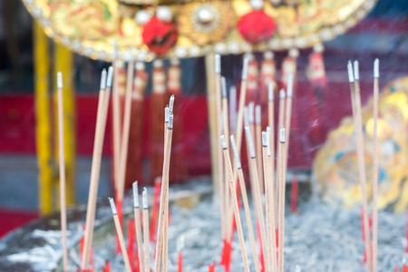 Images of incense and smoke floating in the air. Stock Photo