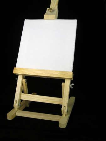 Ezel met witte doek voor bericht Stockfoto