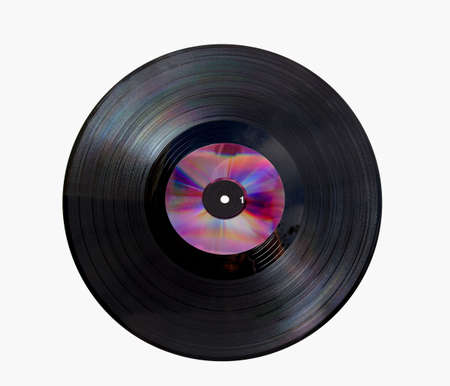 Vinyl disc with cd on top