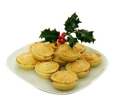 minced pie: Mince pies and holly taditional christmas time