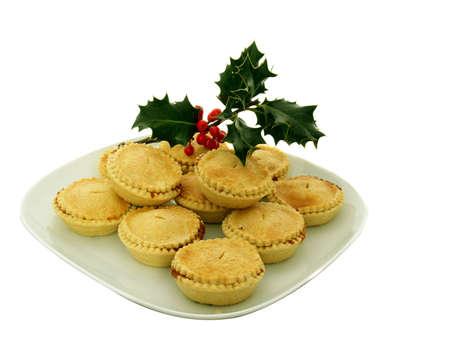 mince: Mince pies i holly taditional Christmas Time Zdjęcie Seryjne
