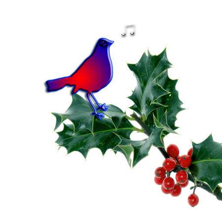 Christmas bird whilstling merry christmas to you photo