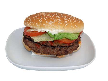 beefburger: Beefburger or hamburger double or large size Stock Photo