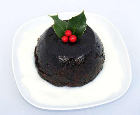 Christmas Pudding met een takje hulst Traditioneel
