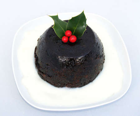 consume: Christmas Pudding  with a sprig of holly Traditional