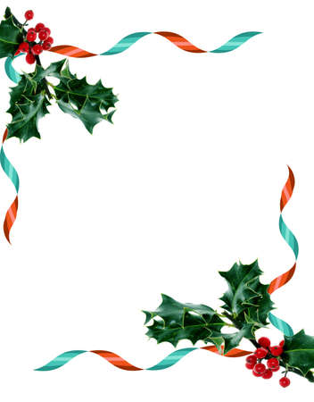 Christmas background waves  with ribbons and Holly photo
