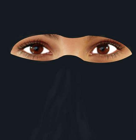 Beauty and the veil ot arab head dress photo