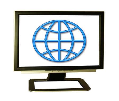 Internet world... round peg in a square hole,metaphor Stock Photo