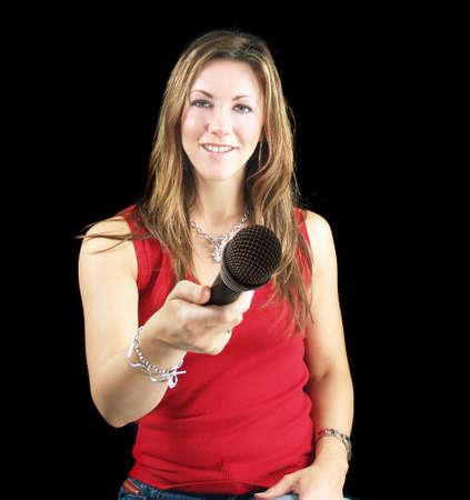 Microfoon voor je met vrouwelijke interviewer
