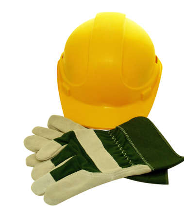 Yellow construction Hat and protective gloves Stock Photo - 790905