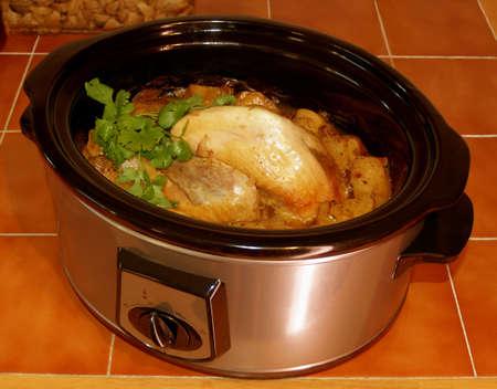 traditional christmas dinner: Pot roast chicken traditional christmas dinner pre turkey Stock Photo