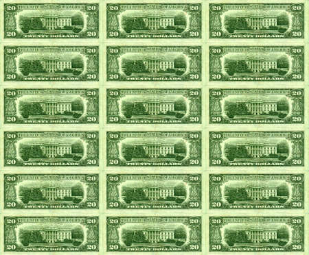 hard sell: Background of green backs showing the white house
