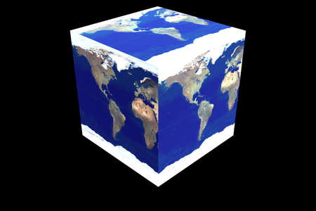 cubed: Cubed World showing the Western hemisphere 3D