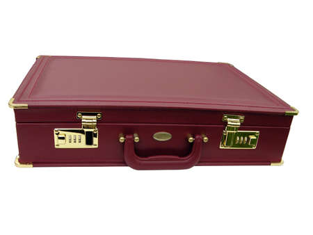 attache: Modern attache or leather briefcase showing locks