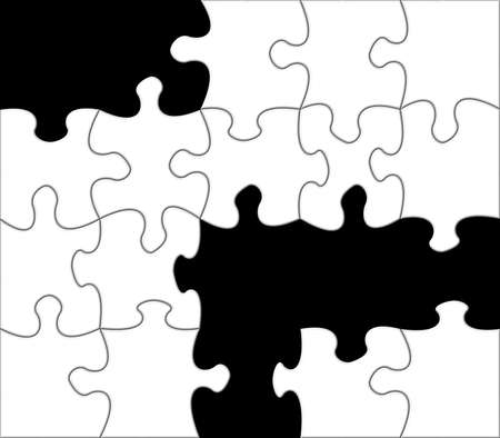 Black and white jigsaw puzzle life metaphor