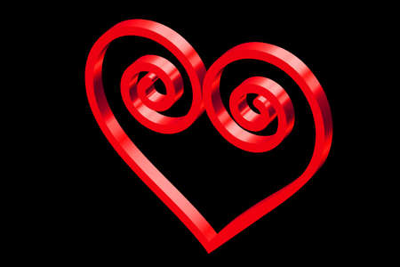 Heart in red with ornate curls Vintage Stock Photo - 2205974