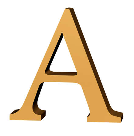 three dimensions: Alphabetic letter in genuine 3D and gold leaf for Begining words