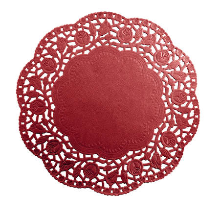 Handmade doily with a red rose pattern and space for text        photo