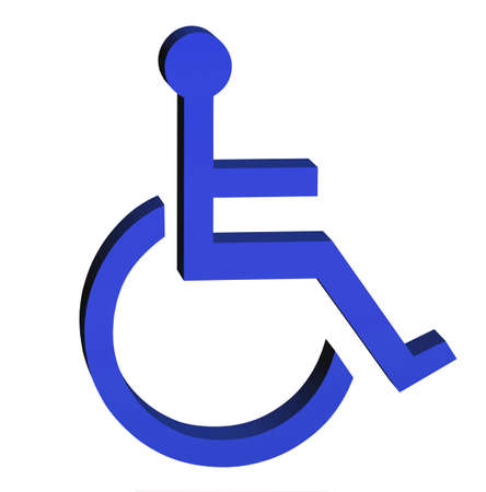 Blue badge sign for the disabled in 3D