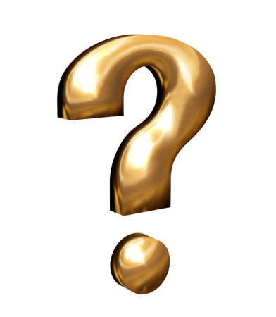 questionably: Golden question mark in 3D web sign