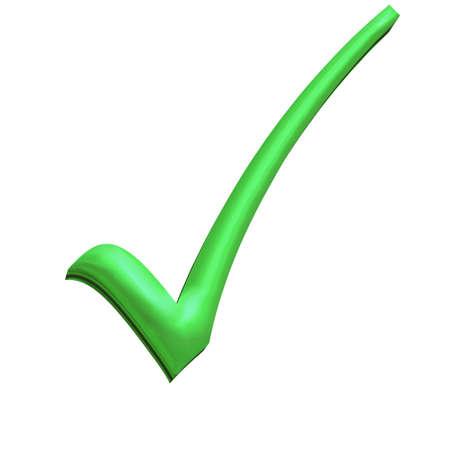 Green 3D tick perfect symbol of democracy Stock Photo