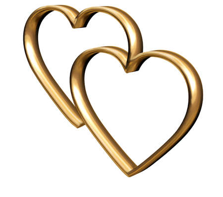 Golden 3D hearts symbol of everlasting love Stock Photo - 2367244