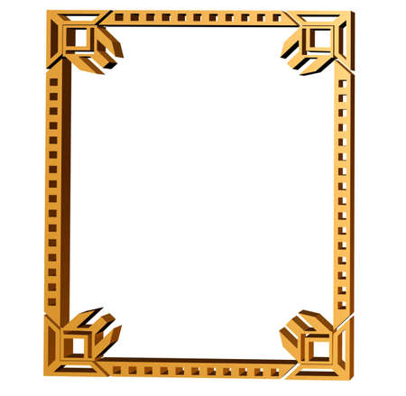 artdeco: Art deco style picture frame in 3D Stock Photo
