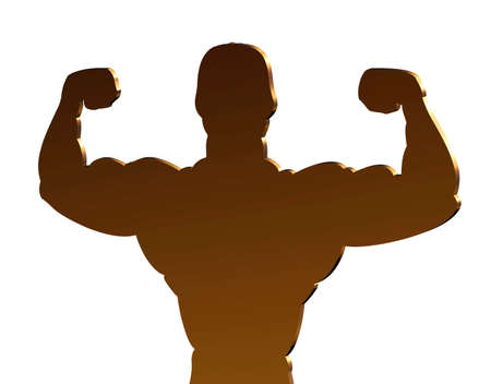 circular muscle: Golden silhouette showing healthy male, a sign for a gym Stock Photo