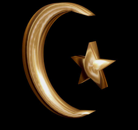Crescent moon and star in golden 3D Muslim photo