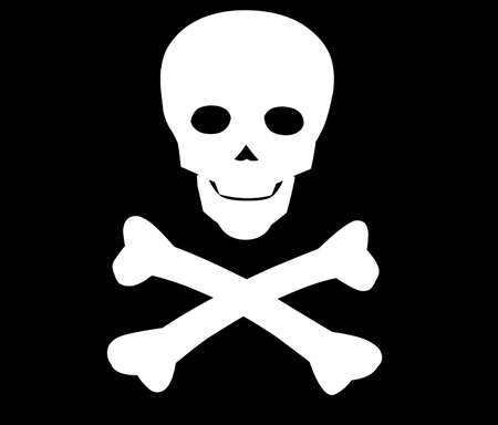 Symbol of death on poisons and flag of villians