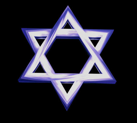 Star of David in Blue and 3D Stock Photo - 2421413