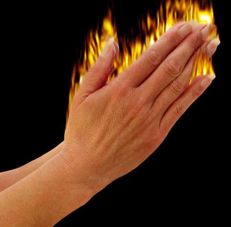 congregation: Hands praying showing the holy spirit metaphor,
