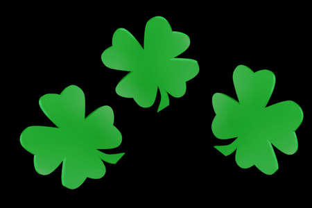four leaved: 3D lucky shamrocks with a heart shape Stock Photo
