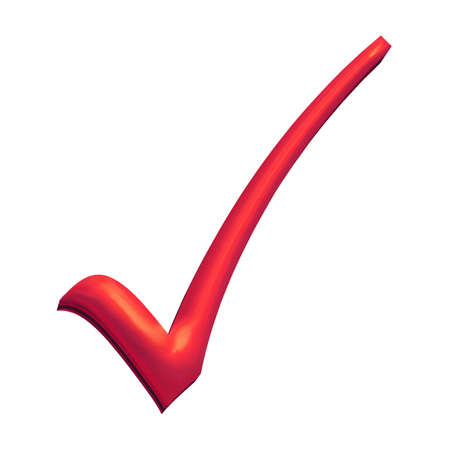 multiple choice: Red 3D tick, turning wrong into right Stock Photo