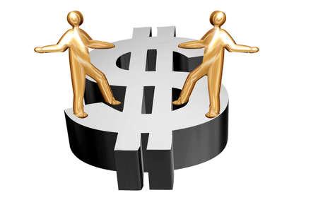 dolar: Golden people dancing on a silver dolar