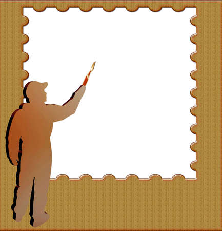 Artist painting a blank canvass with text? Stock Photo - 2457390