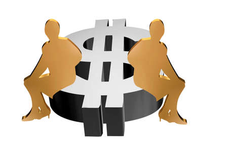 earnings: Silver dollar girls in 3D, they go with the dollars. Stock Photo