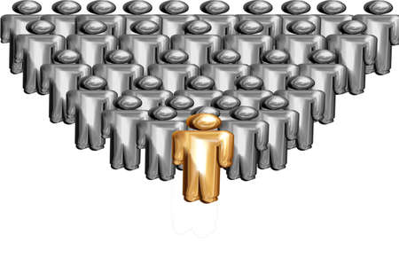 Leadership in 3D Golden person in front of silver photo