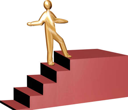 Golden career climbing the stairs to success Stock Photo - 2457379