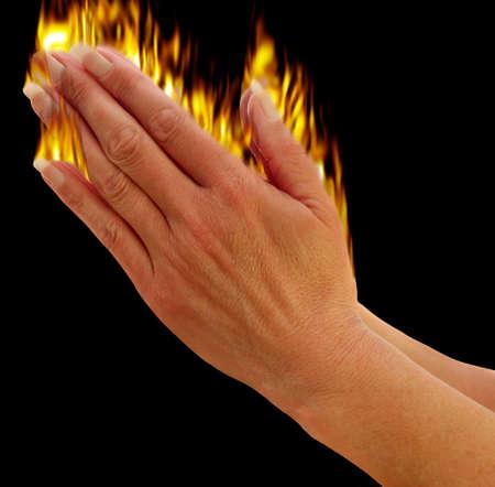 Hands praying showing the holy spirit metaphor,        photo
