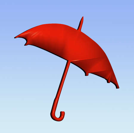 brolly: 3D red brolly blowing in the wind Stock Photo
