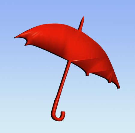 brolly: 3D rojo brolly en el viento