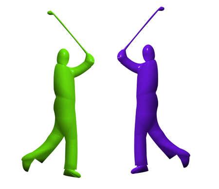 put: 3D model of a male golfer swinging Stock Photo
