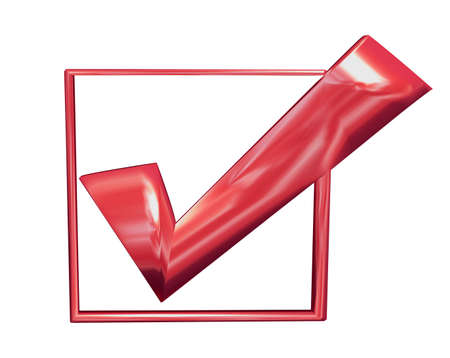 Red tick in a voting box irony
