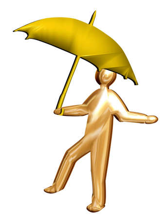 brolly: 3D brolly man sheltering from the rain